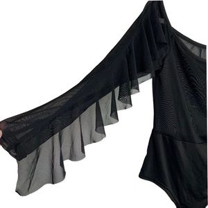 Sexy Black | Sheer top | Ruffle sleeve | Bodysuit